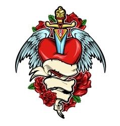 Broken heart tattoo design vector