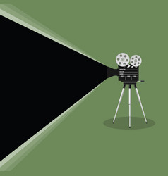 Camera old movie on green background vector
