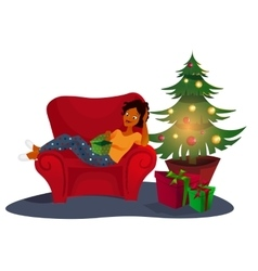 Christmas interior with an elegant red sofa vector