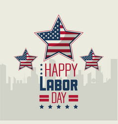 Colorful poster of happy labor day with silhouette vector