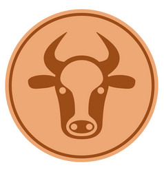 cow head bronze coin vector image vector image