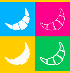Croissant simple sign four styles of icon on four vector
