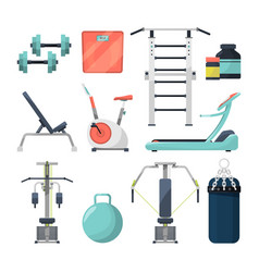different fitness items for gym of vector image