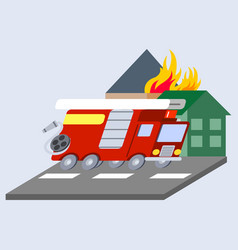 Firefighter truck flat skew icon vector
