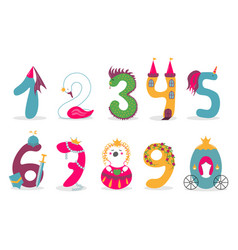 funny cute princess numbers colorful vector image
