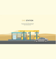 Gray car at the gas station in the desert vector