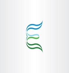 green blue stylized logo letter e logotype icon vector image