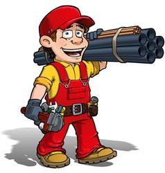 Handyman plumber red vector