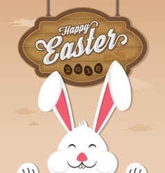 Happy easter 2016 and smiling bunny vector image vector image