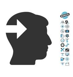 Head plug-in arrow icon with air drone tools bonus vector