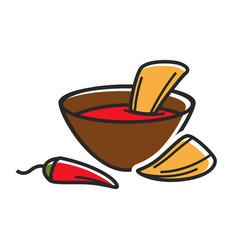 Hot dip with nachos vector