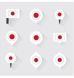 japan flag and pins for infographic and map design vector image vector image