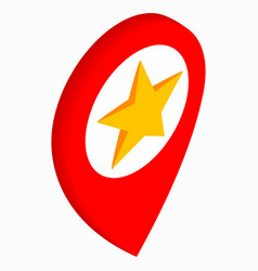 Map pointer with star icon isometric 3d style vector