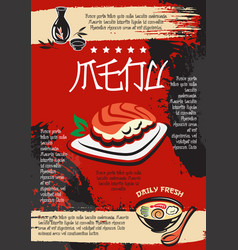 Menu for japanese seafood restaurant design vector