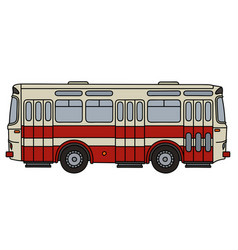 Old red city bus vector