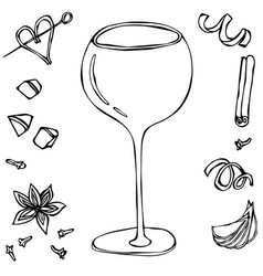 Oversized wine coctail glass hand drawn vector