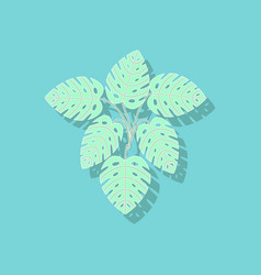 Paper sticker on stylish background plant monstera vector