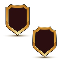 Renown black shield shape emblems with golden vector