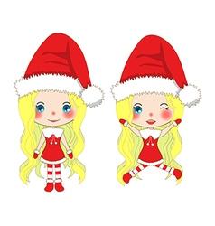 Santa Girl Jump vector image vector image