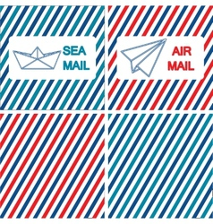 Set of air and sea mail on vector image
