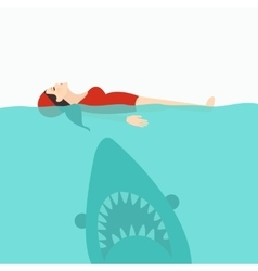 Shark jaws attack woman swimming at sea water vector