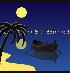 Square with boat and moon vector