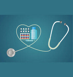 Stethoscope in the shape of a heart with pills vector