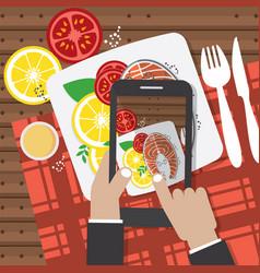 Taking food fotos vector