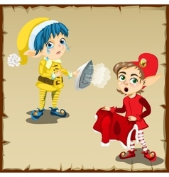 Two elf character for household chores vector