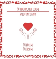 Valentines day party pink design with hands and vector image vector image