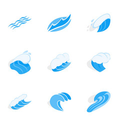 Wave icons isometric 3d style vector