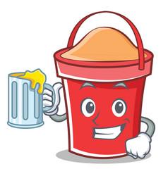 with juice bucket character cartoon style vector image