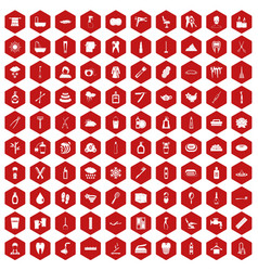 100 hygiene icons hexagon red vector