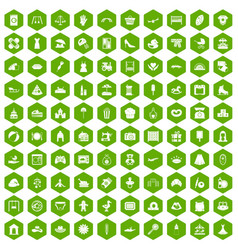 100 motherhood icons hexagon green vector