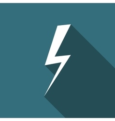 Lightning bolt flat icon with long shadow vector image