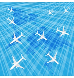 Airplanes in the blue sky over the wold map vector image