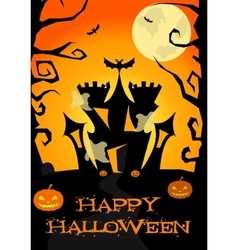 Halloween poster with castle ghosts pumpkin vector