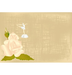 Background with a rose and a ballerina vector