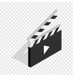 Clapperboard open with play button isometric icon vector