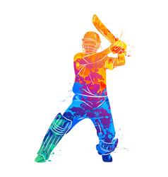Abstract batsman playing cricket vector