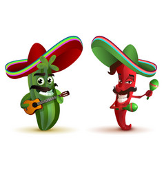 red hot chili peppers and cactus in mexican hat vector image