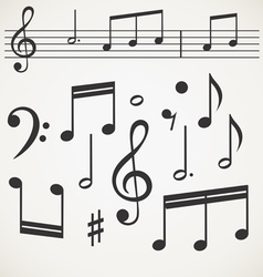 Music note collection on old paper vector image