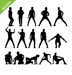 Men dancer silhouettes vector