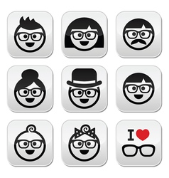 People wearing glasses geeks icons set vector image