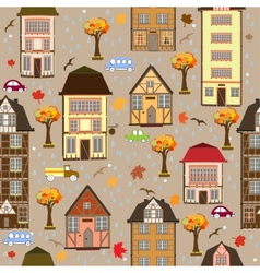 Seamless pattern with autumn city vector