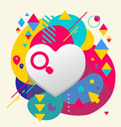 Heart on abstract colorful spotted background with vector image