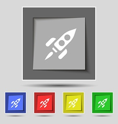 Rocket icon sign on the original five colored vector