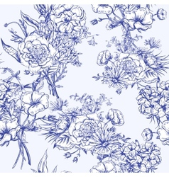 Retro summer seamless monochrome floral pattern vector
