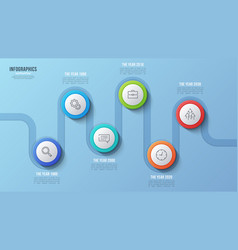 6 steps timeline chart infographic design vector