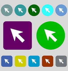 Cursor arrow icon sign 12 colored buttons flat vector
